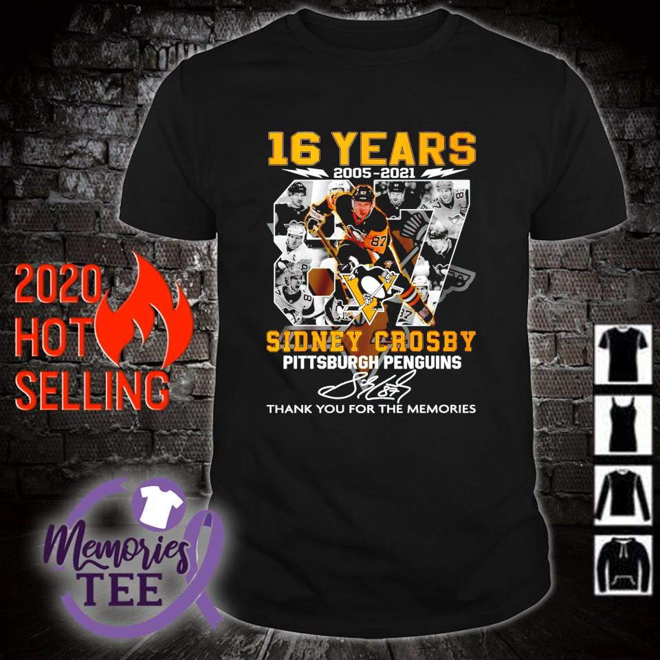 Pittsburgh Penguins 16 years 2005 2021 Sidney Crosby thank you for the memories shirt
