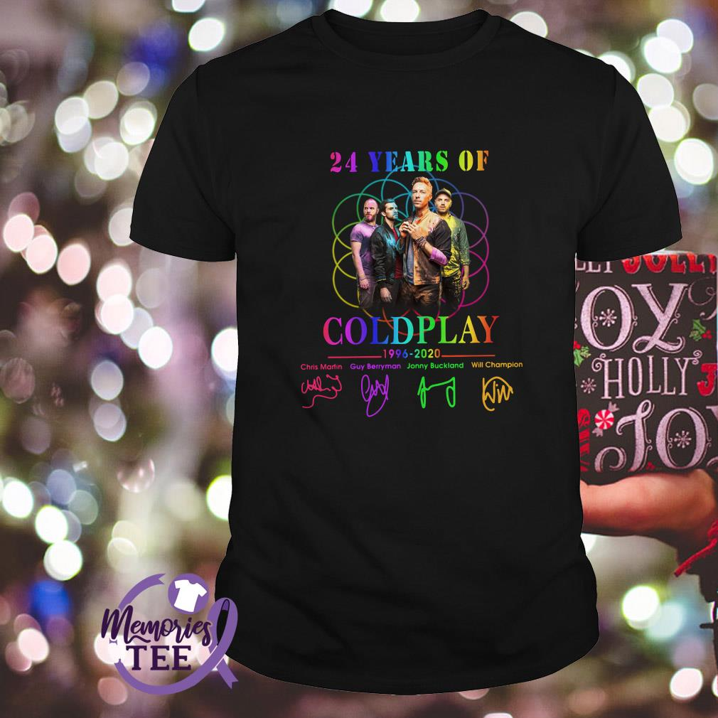 24 Years of Coldplay 1996 - 2020 signatures shirt