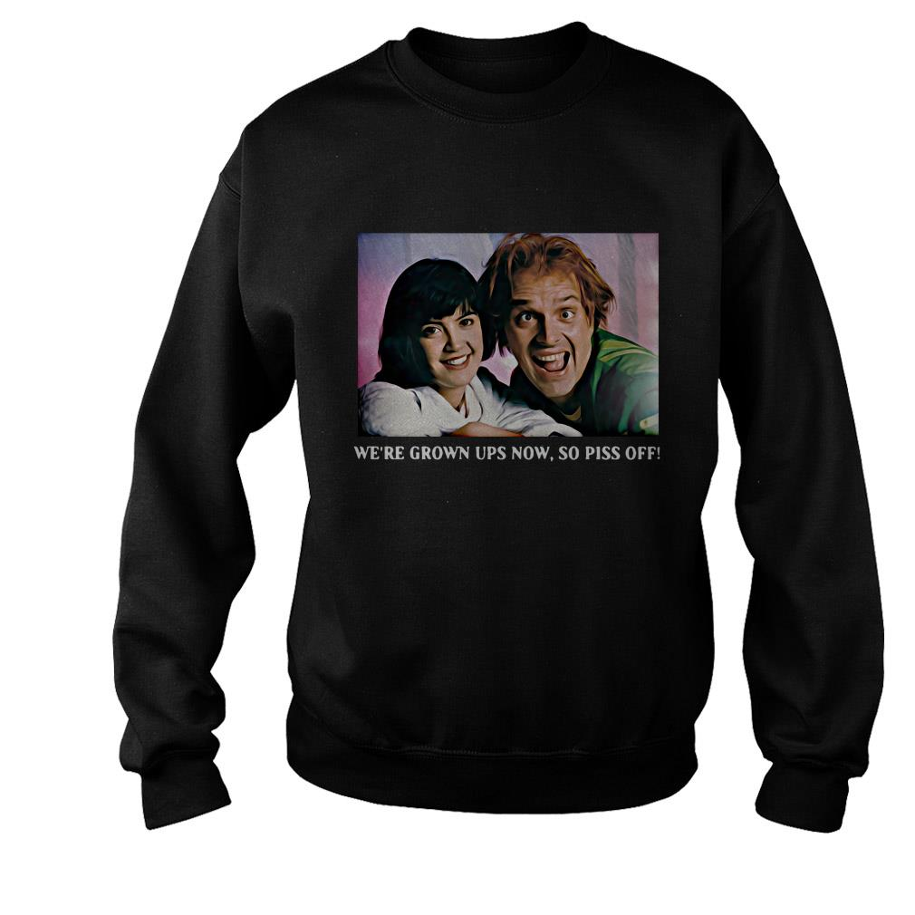 Rik Mayall And Phoebe We're grown ups now so pick off shirt