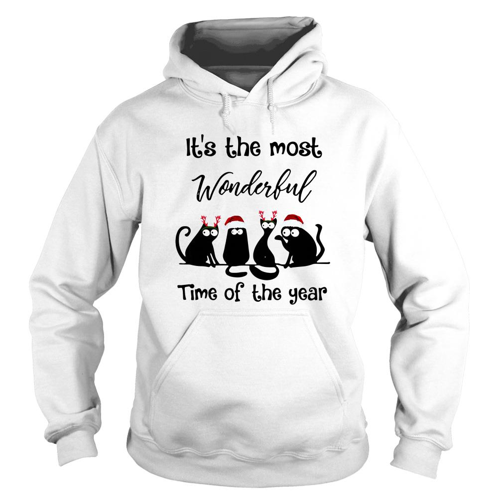 It's the most wonderful time of the year Christmas Cats black Hoodie
