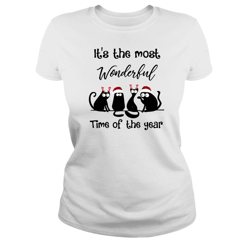 It's the most wonderful time of the year Christmas Cats black Ladies Tee
