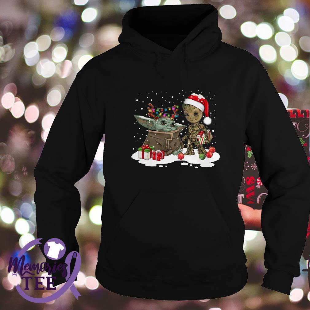 Baby Yoda And Santa Groot Christmas Snow Sweat Shirt Hoodie