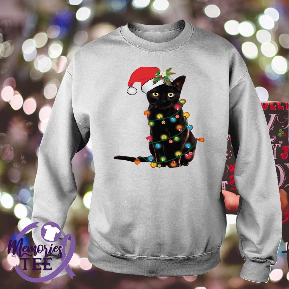 Black Cat light Christmas sweat shirt
