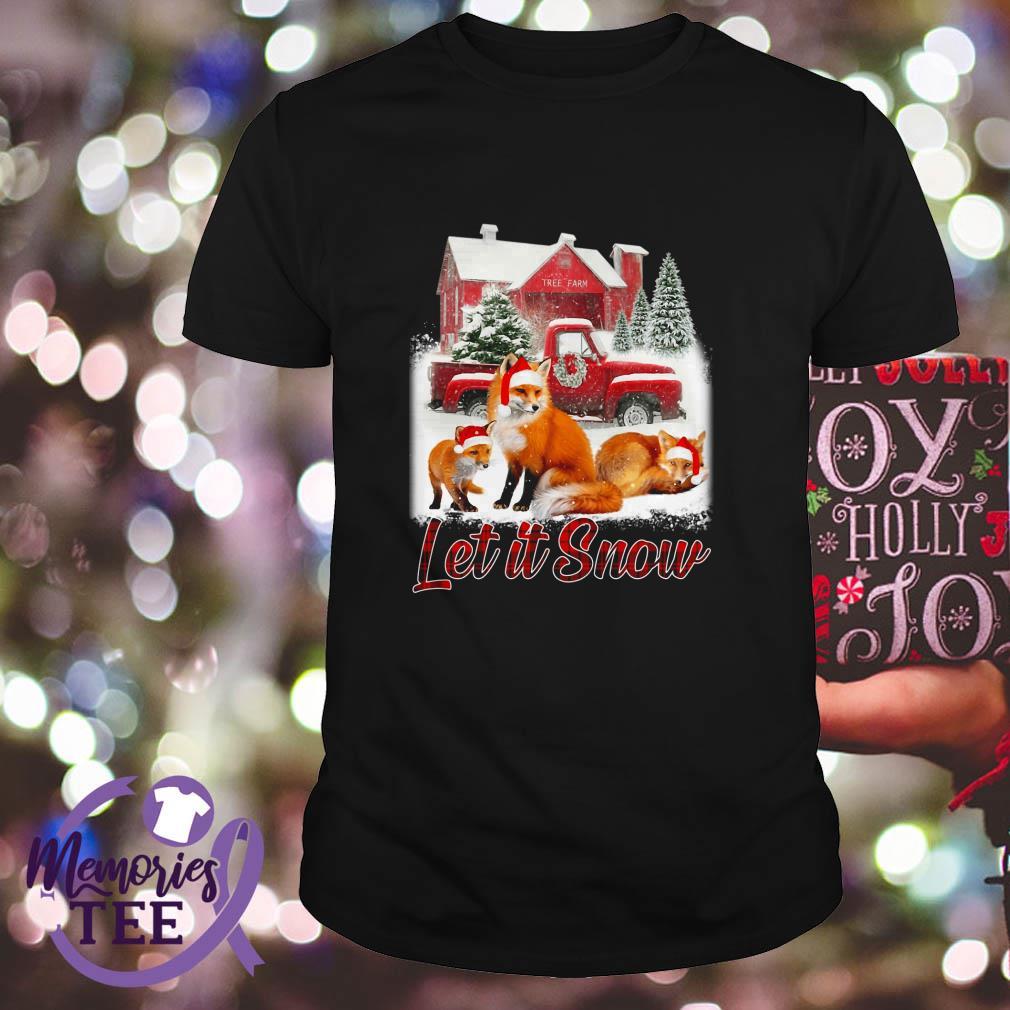 Foxs Santa hat Let it Snow Christmas Guys shirt