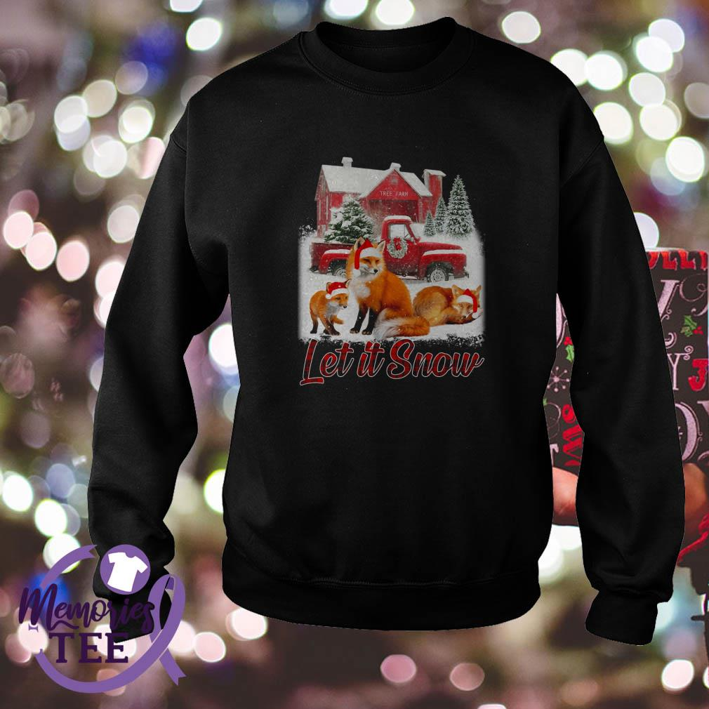 Foxs Santa hat Let it Snow Christmas sweatshirt