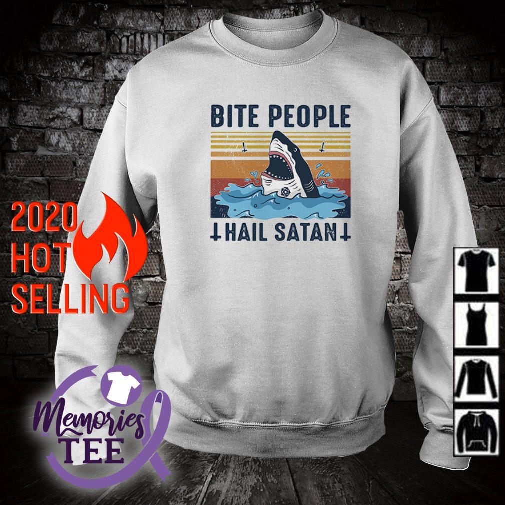 Shark bite people hail satan vintage sweater