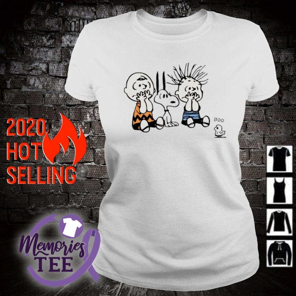 Peanuts characters scare ghost boo s ladies-tee