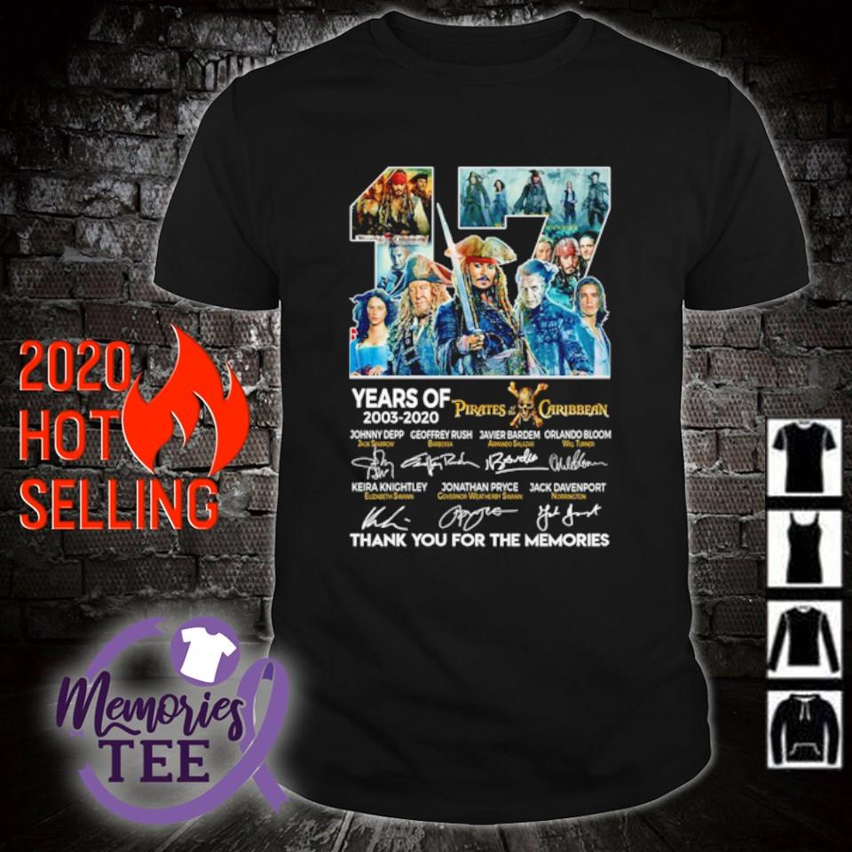 17 years of Pirates Caribbean 2003 2020 thank you for the memories shirt