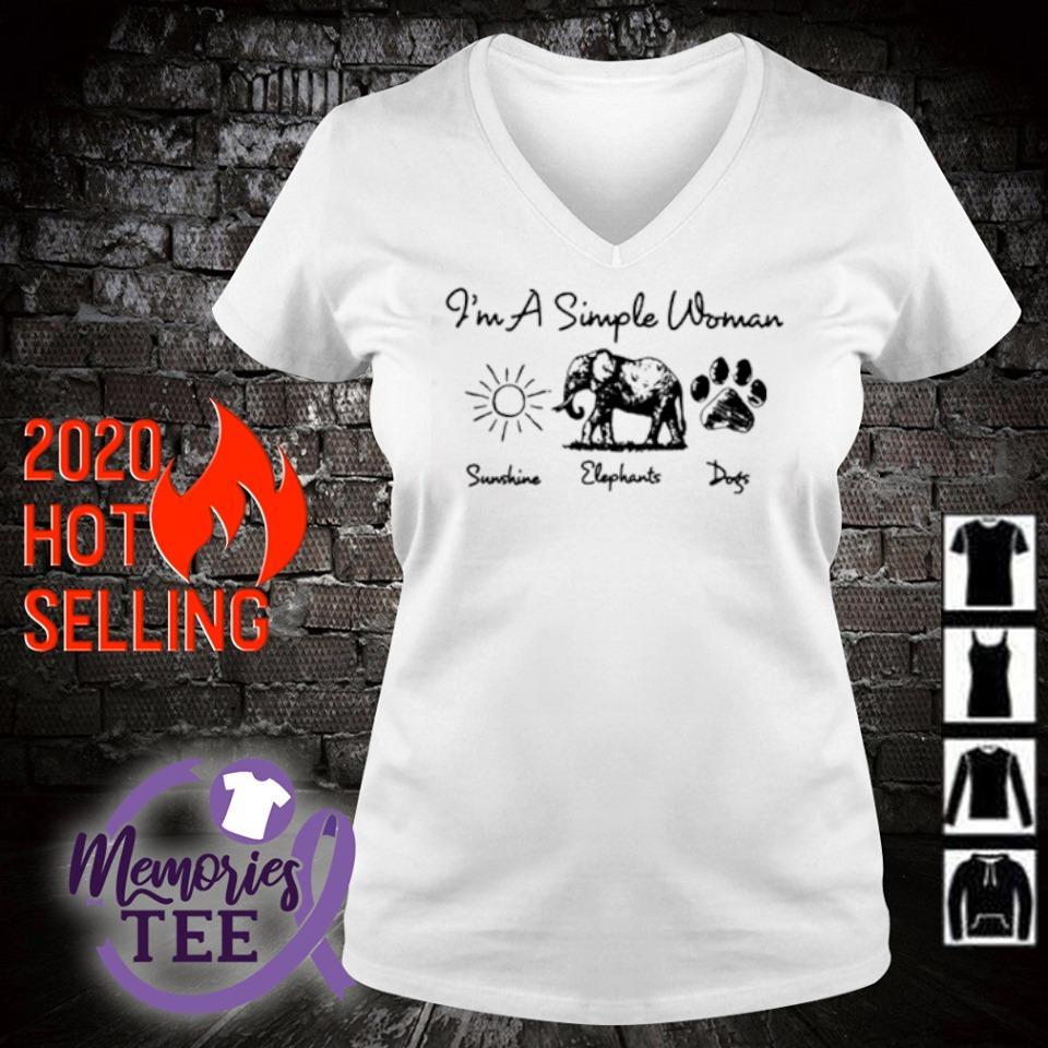 I'm a simple woman I like Sunshine Elephants Dogs s v-neck t-shirt