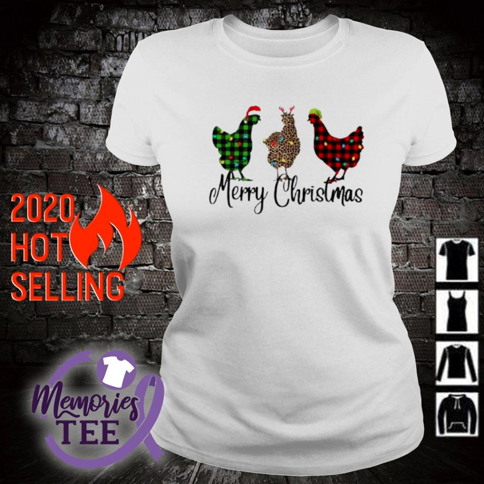 Santa Reindeer Elf three hens Merry Christmas s ladies-tee