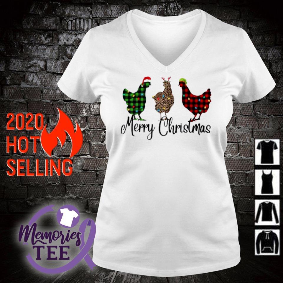Santa Reindeer Elf three hens Merry Christmas s v-neck t-shirt