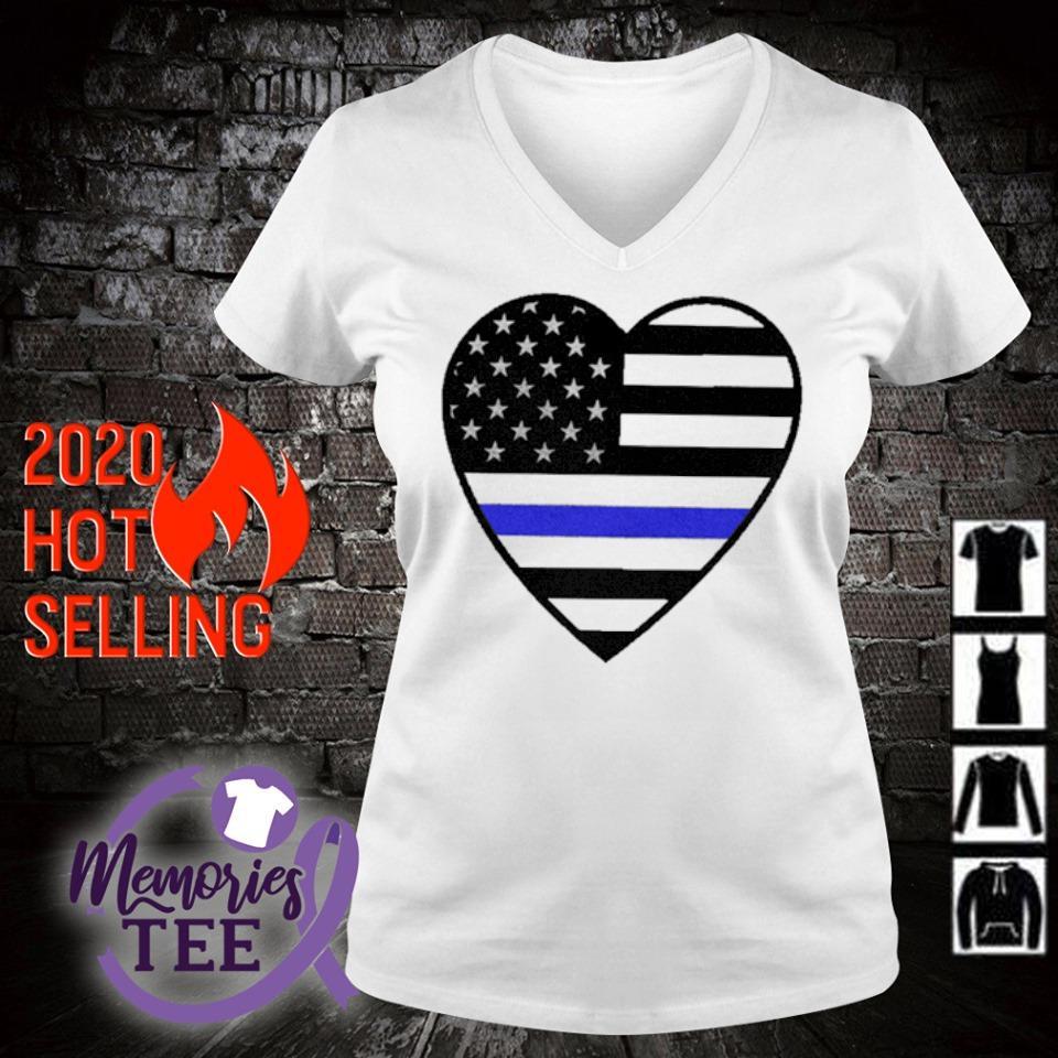 Heart Thin Blue Line s v-neck t-shirt